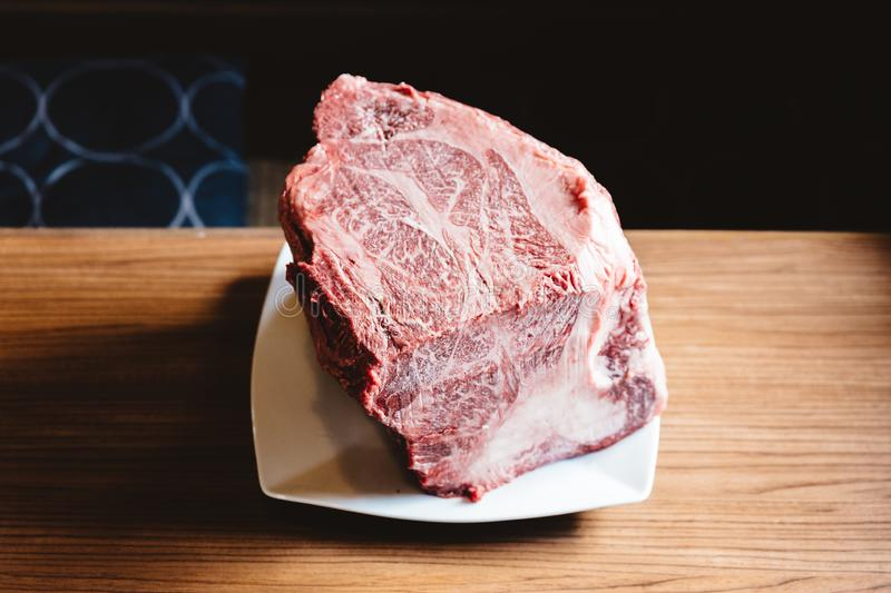 Rare authentic A5 Grade Japanese Wagyu beef Filet Mignon with high-marbled texture. Boneless and juicy for making Shabu and sushi royalty free stock photography