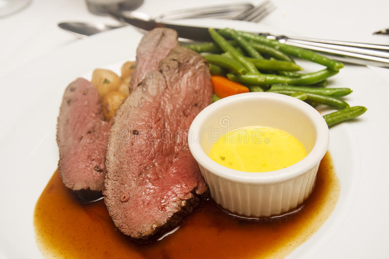 Rare Beef With Two Sauces Stock Image