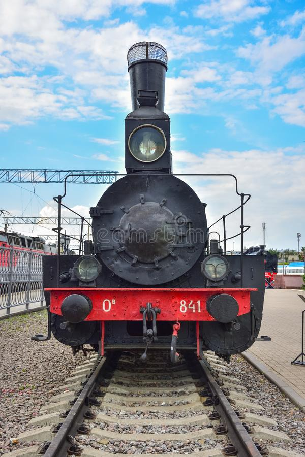 Rare black and red steam train in the museum of steam locomotives at the Riga station. Moscow  Russia - May 26, 2019: rare black and red steam train in the stock photos