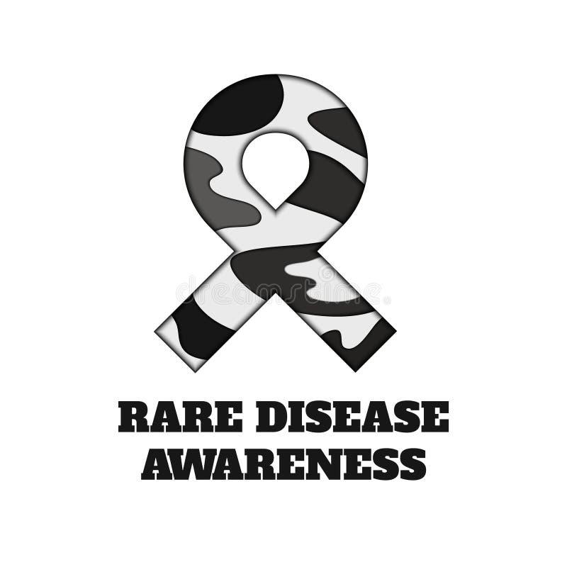 Rare disease awareness papercut ribbon royalty free illustration