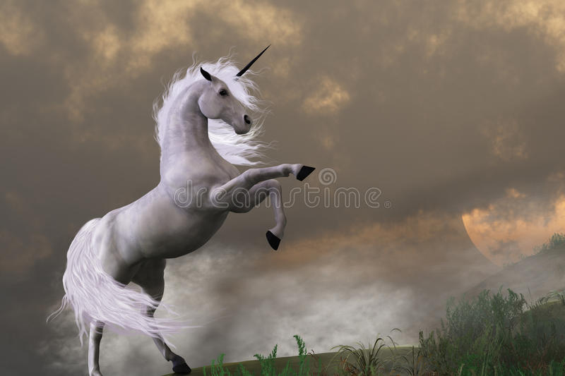 Rare Earth. A unicorn stag asserts its power on a hill shrouded in clouds