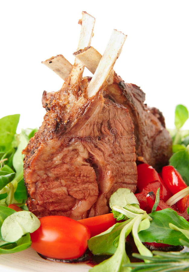 Rare Fried Rack Of Lamb Isolated On White Stock Image