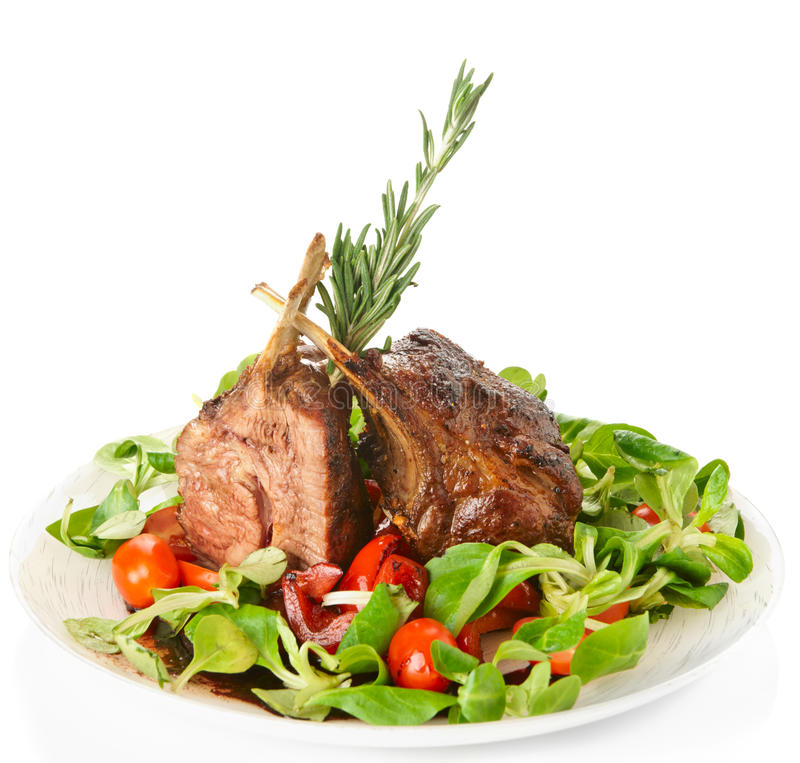 Download Rare Fried Rack Of Lamb  On White Stock Image - Image: 28607891
