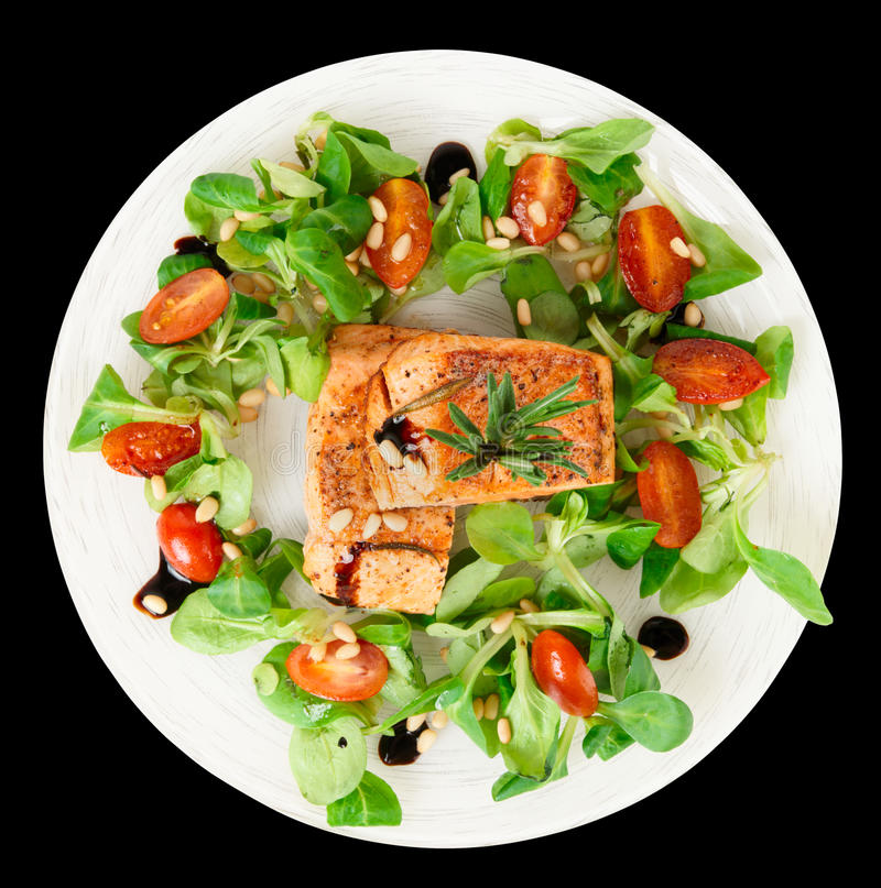 Download Rare Fried Salmon Steaks Isolated On Black Stock Images - Image: 28609344
