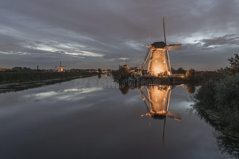 Rare illuminated windmill at kinderdjik stock images