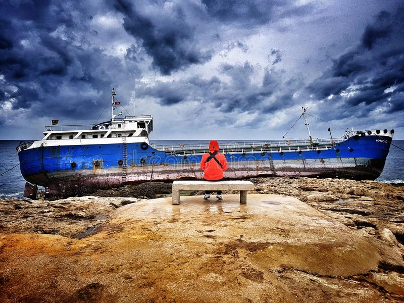 Greek ship Hephaestus got shipwrecked at the coast of Bugibba, Malta - 09. February, 2018. royalty free stock photography
