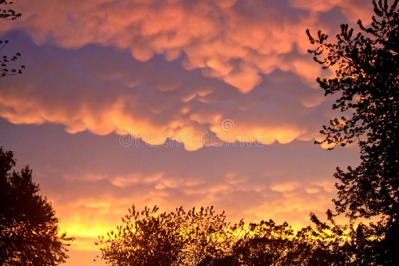 Rare Mammatus Clouds reflect brilliant orange after a Storm in the Midwest during Summer. royalty free stock image