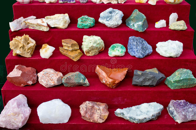 Rare Minerals And Stones Aligned Royalty Free Stock Photography