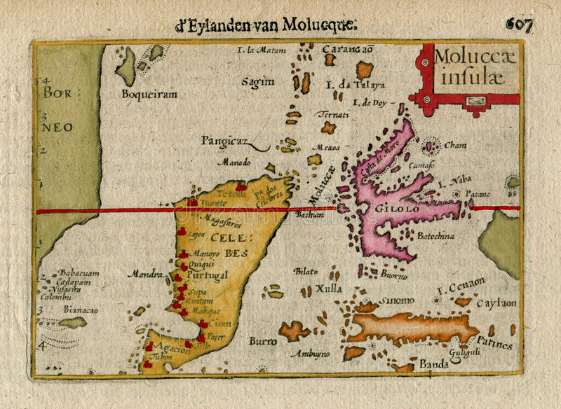 Rare Old Map of E. INDIES, INDONESIA, MOLUCCA Is. CELEBES 1606 royalty free stock image