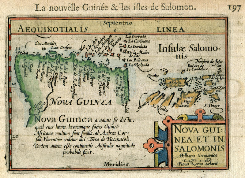 Rare Old Map Nouvelle Guinee & Les Isles de Solomon. Pacific Bertius 1602 stock photo