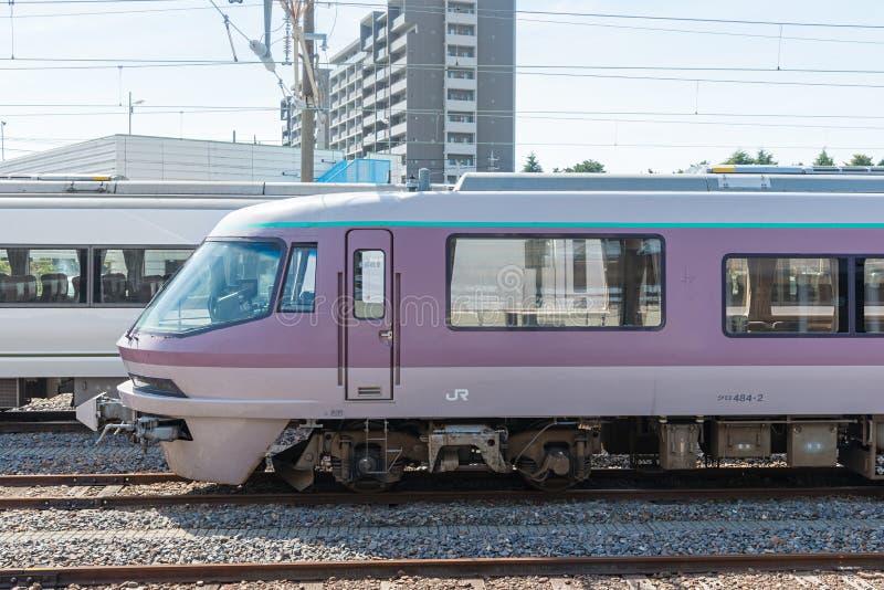The rare sightseeing train Resort Express Yu at Katsuta station. IBARAKI,JAPAN - APRIL 20,2016 : The rare sightseeing train Resort Express Yu at Katsuta station royalty free stock photos