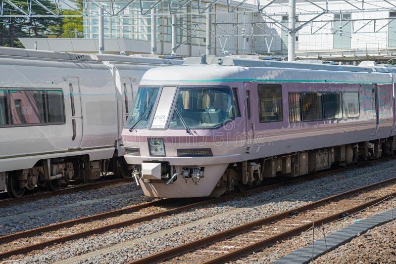 The rare sightseeing train Resort Express Yu at Katsuta station. IBARAKI,JAPAN - APRIL 20,2016 : The rare sightseeing train Resort Express Yu at Katsuta station stock photo