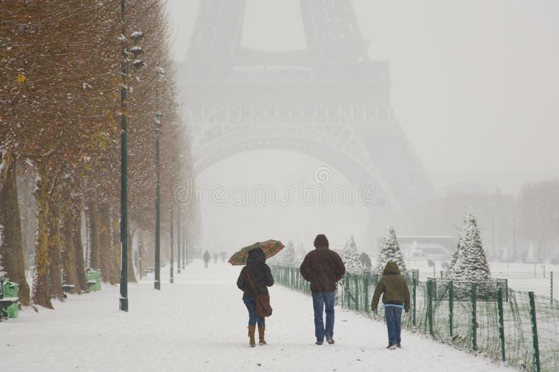 Rare snowy day in Paris stock photos