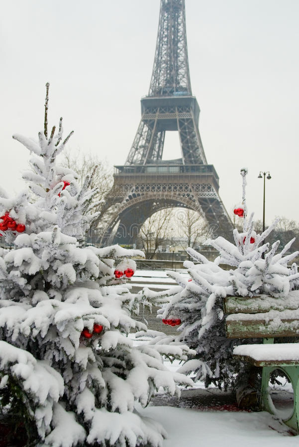 Rare snowy day in Paris stock photography