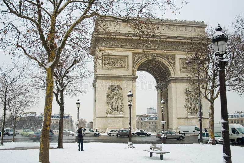 Rare snowy day in Paris royalty free stock photos