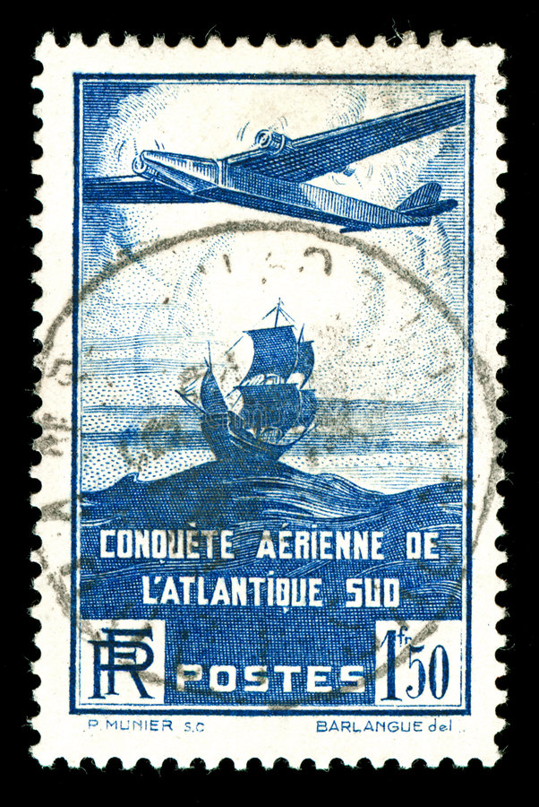Download Rare Vintage French Aircraft Stamp Stock Photo - Image: 8017508
