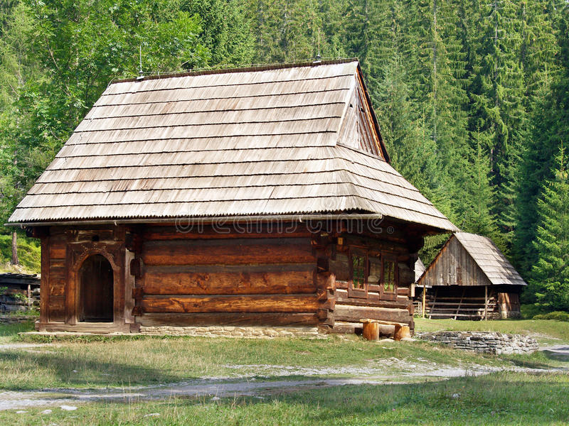 Rare wooden folk houses in Zuberec stock images
