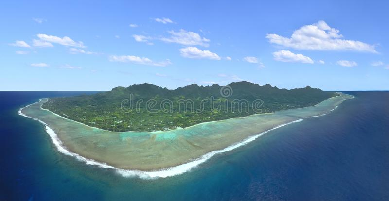 Rarotonga Cook Islands panorama aerial view. Panorama aerial view of Rarotonga, Cook Islands. Polynesia tropical island paradise landscape. Copy space royalty free stock photos
