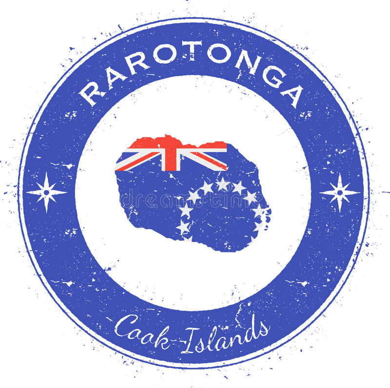 Rarotonga runt patriotiskt emblem royaltyfri illustrationer