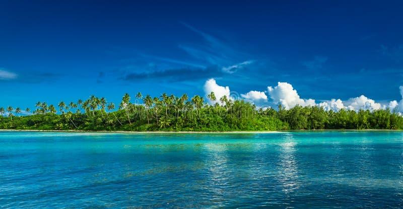 Rarotonga tropical con las palmeras y la playa arenosa, cocinero Islands imagen de archivo
