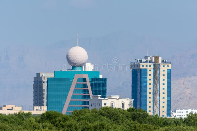 Ras al Khaimah Etisalat Tower with iconic ball close up in the United Arab Emirates. `Ras al Khaimah, RAK/United Arab Emirates - 11/23/2019: Ras al Khaimah royalty free stock photography
