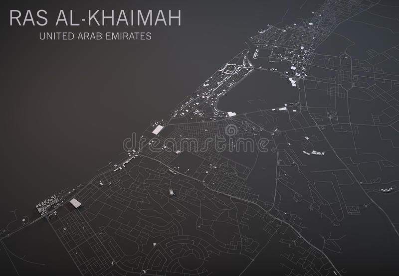 Ras Al Khaimah Map Satellite View Section 3d Emirates Arab United