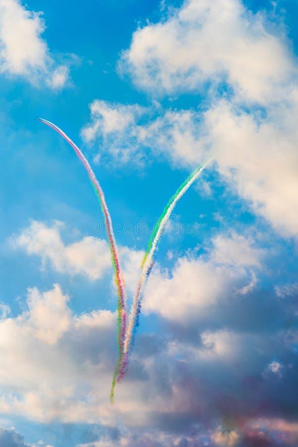 Ras Al Khaimah, United Arab Emirates - November 27, 2018: Airplanes making a heart shape for UAE national day celebration in. Ras Al Khaimah, the northern stock photography