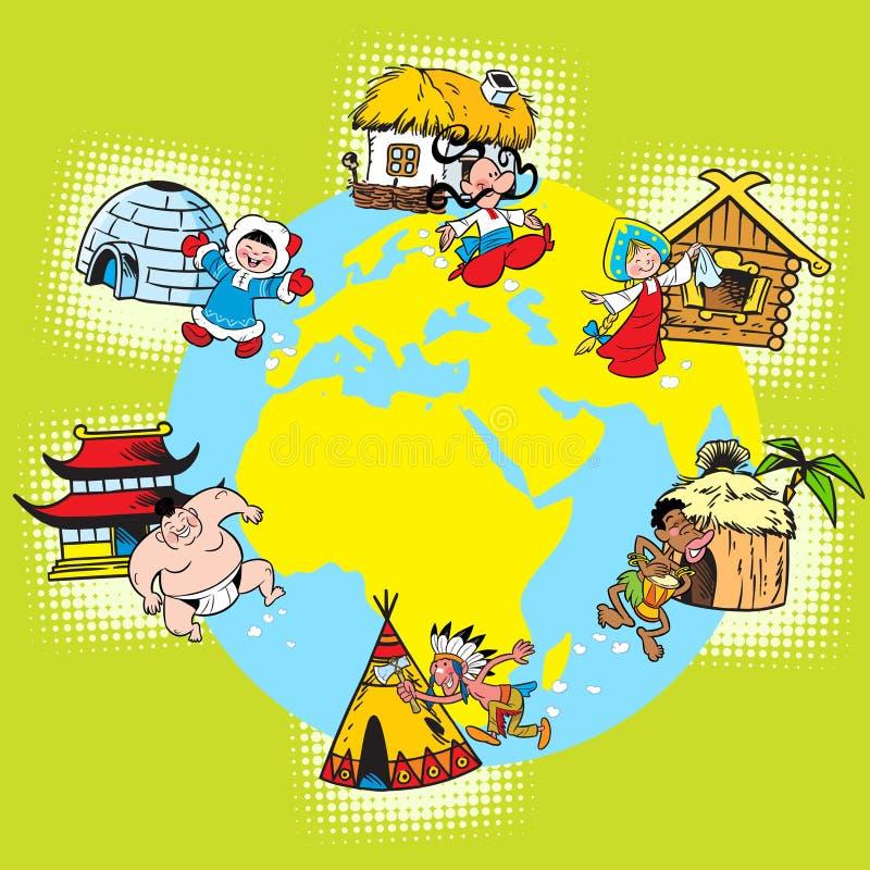 Ras en naties van de wereld royalty-vrije illustratie