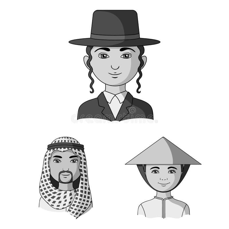 Ras ludzkich monochromatyczne ikony w ustalonej kolekci dla projekta Ludzie i narodowość symbolu zapasu wektorowa sieć ilustracja wektor