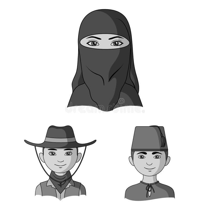 Ras ludzkich monochromatyczne ikony w ustalonej kolekci dla projekta Ludzie i narodowość symbolu zapasu wektorowa sieć royalty ilustracja
