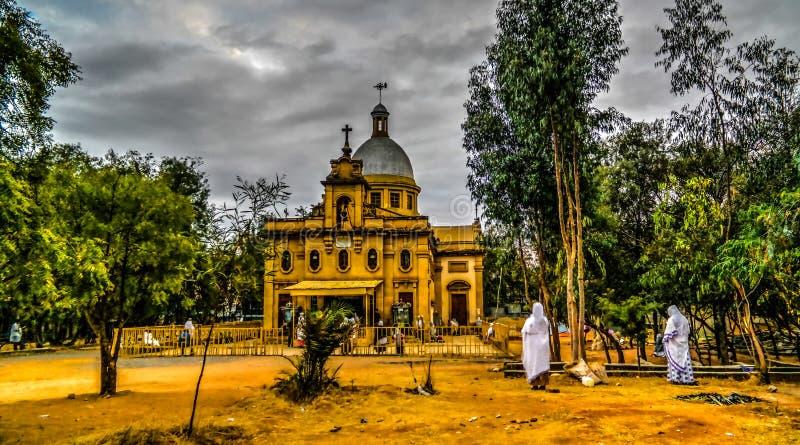 Ras Makkonen塞拉西教会,哈勒尔,埃塞俄比亚外部  库存图片