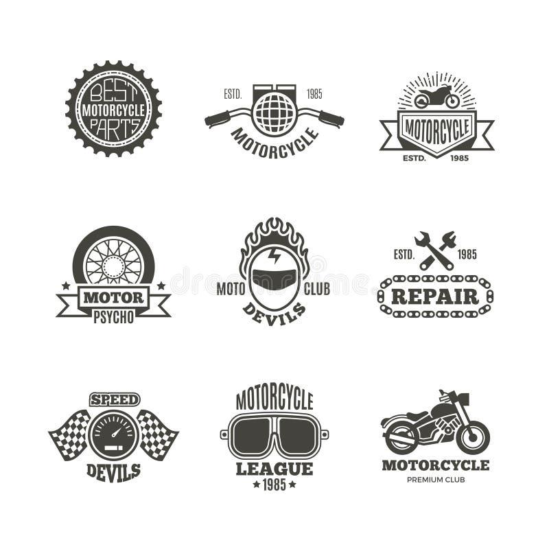 Ras, motorfiets, de emblemen van de motorreparatie de vector retro etiketten, het embleem, de kentekens en stock illustratie