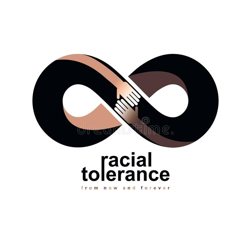 Ras- tolerans mellan det begreppsmässiga symbolet för olika nationer, royaltyfri illustrationer
