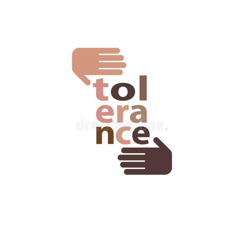 Ras- toleransbegrepp Händer av den Caucasian och afrikanska person som tillhör en etnisk minoritet stock illustrationer