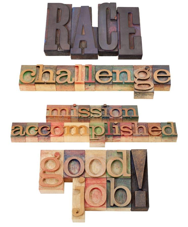 Ras, uitdaging, verwezenlijkte opdracht stock afbeeldingen