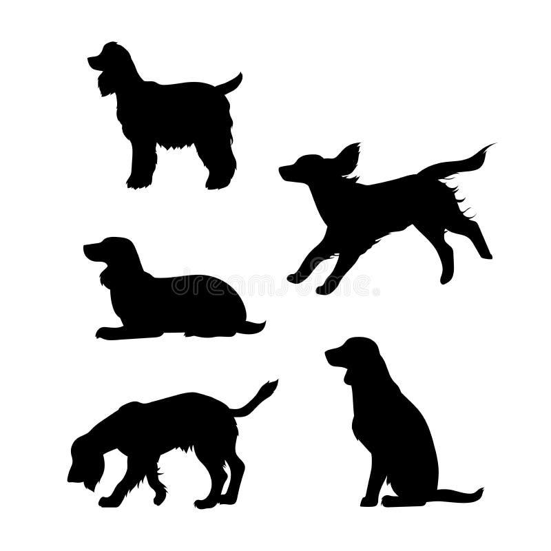 Ras van de vectorsilhouetten van een hondcocker-spaniël vector illustratie