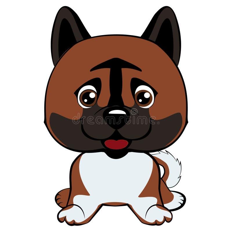 Ras van hond lacht het Amerikaanse Akita met zijn tong, zitting en het glimlachen die uit hangen royalty-vrije illustratie