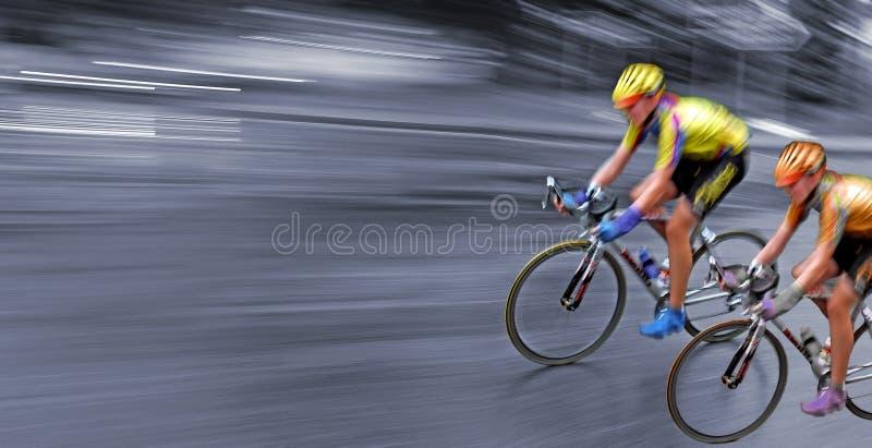 Ras, verzameling, snelle fietsers in motie stock afbeelding