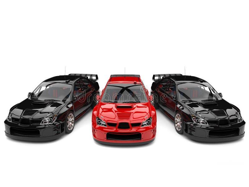 Rasa den röda GT-racerbilen in - mellan svarta racerbilar stock illustrationer