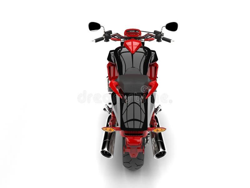Rasa den röda moderna avbrytarmotorcykeln - överträffa ner baksidaskott stock illustrationer