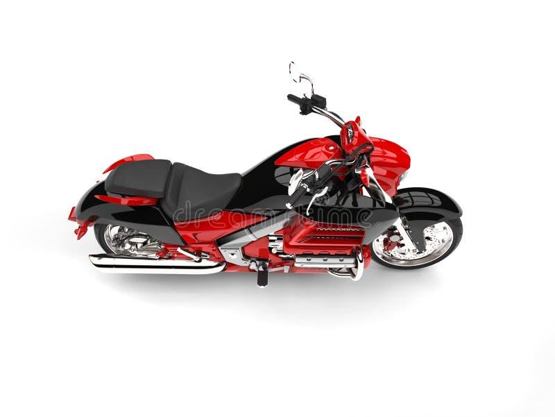 Rasa den röda moderna avbrytarmotorcykeln - överträffa ner sidosikt vektor illustrationer