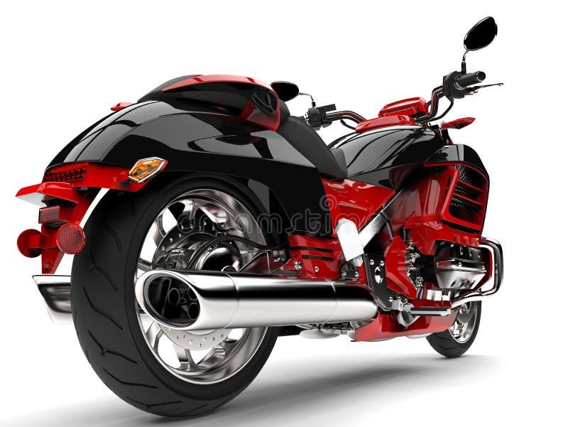 Rasa den röda moderna avbrytarmotorcykeln - closeupskott för bakre hjul stock illustrationer