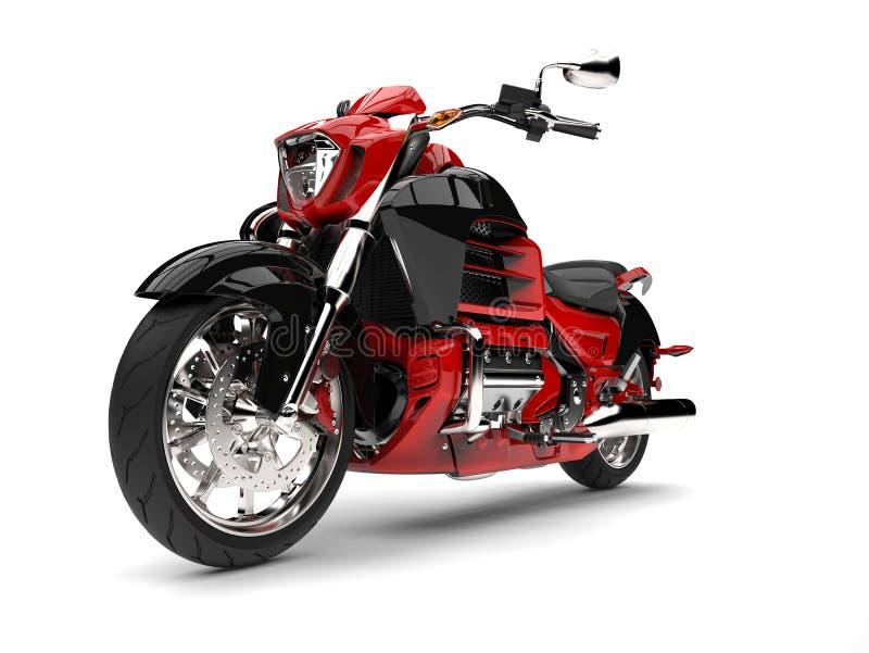 Rasa den röda moderna avbrytarmotorcykeln - eposskott royaltyfri illustrationer