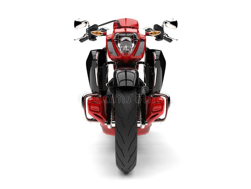 Rasa den röda moderna avbrytarmotorcykeln - främre sikt stock illustrationer