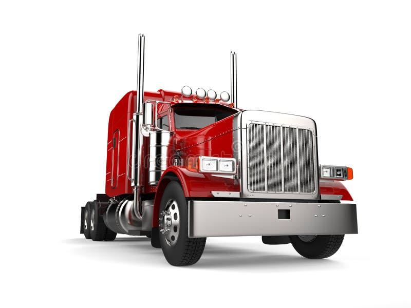 Rasa den stora lastbilen för röd person som drar en skottkärra för klassiker 18 - closeupskott för låg vinkel royaltyfri illustrationer