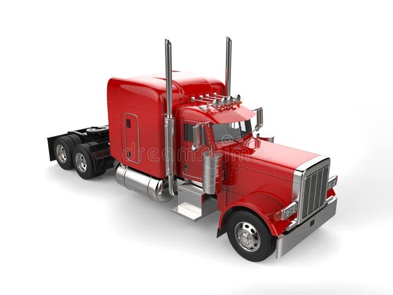 Rasa den stora lastbilen för den röda person som drar en skottkärra för klassiker 18 - överträffa ner sikt vektor illustrationer