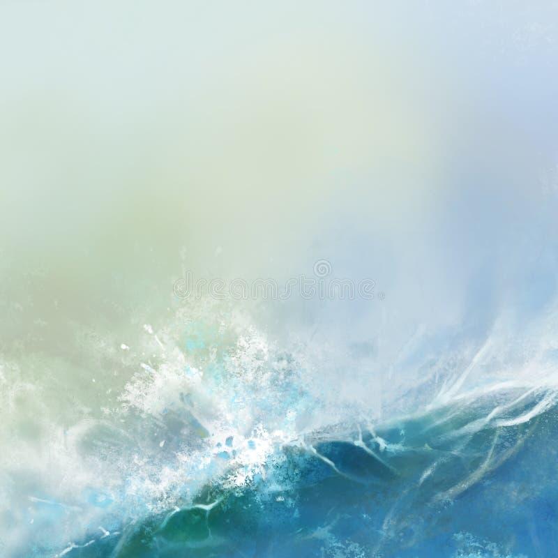 Rasa havsvågor på ljus himmelbakgrundstextur royaltyfri illustrationer