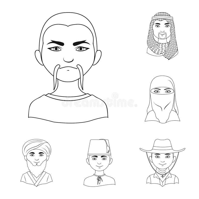 Rasa ludzka konturu ikony w ustalonej kolekci dla projekta Ludzie i narodowość wektorowy symbol zaopatrują sieci ilustrację royalty ilustracja