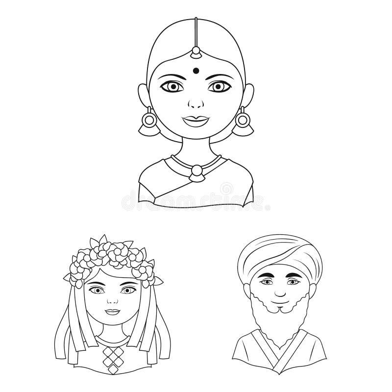 Rasa ludzka konturu ikony w ustalonej kolekci dla projekta Ludzie i narodowość wektorowy symbol zaopatrują sieci ilustrację ilustracja wektor