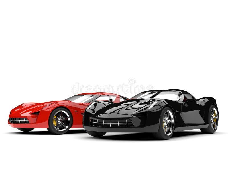 Rasa röda och midnatta svarta toppna sportbilar vektor illustrationer